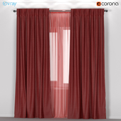IKEA ANNACAISE - brown-red thick curtains made of polyester + tulle.