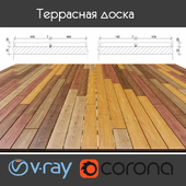 Multi-colored decking on logs, 4 species, option 4