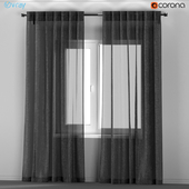 IKEA AINA - dark gray transparent curtains from flax.