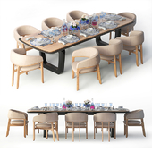 Table and chair Tecninova of the Fortune 2 collection + table setting