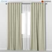IKEA VILBORG - beige thick curtains made of polyester + tulle.