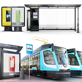 Tram car series -71-623 Russia \ Modern stop + environment.