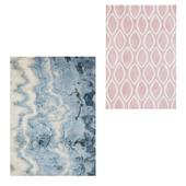 Temple and webster: Marble Blue Digital Print Rug, Pink Pink Weave Oval Print Wool Rug