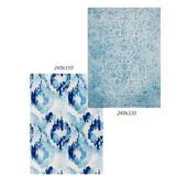 Temple and webster: Kioga Blue Ikat Power Loomed Modern Rug, Adne Ornate Floral Vintage Style Rug