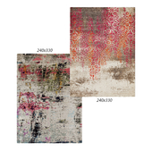 Temple and webster: Keiji Distressed Abstract Rug, Jarod Pink, Green & Gray Durable Modern Rug