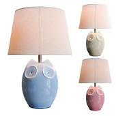 Lighting and Interiors - Hector Owl Table Lamp (blue, cream, pink)