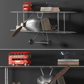 VINTAGE AIRPLANE METAL SHELF