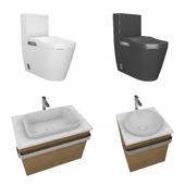 bathroom set toilet, wash basin, faucet, sink cabin