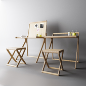 Children's table with a folding table top