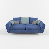 blue fabric double sofa