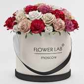 A bouquet of roses in a gift box