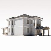 Двухэтажный жилой дом с большой террасой