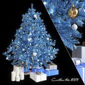 Fir-tree artificial New Year's blue