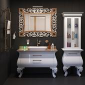 A set of furniture and sanitary ware for the bathroom Gaia Mobili # 9, tile Kerama Marazzi