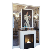 Fireplace, sconce, picture, decor and mirror panels. Light version (Fireplace sconce Gianna picture and decor Blue light YOU)