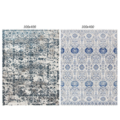Temple and webster: Irtish Navy & Gray Power Loomed Modern Rug, White and Blue Power Loomed Rug