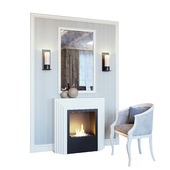 Fireplace, sconce, mirror, panel, decor and armchair (Fireplace sconce Rum decor and armchair YOU)