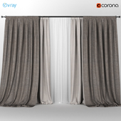 Light brown curtains in two shades + white tulle.