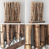 Bamboo decor with pebbles