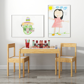 Children's table with ikea chairs and xalingo toy