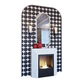 Fireplace, sconce, red decor, mirror and pop art panels (Fireplace sconce mirror and decor pop art Red 01 YOU)