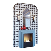 Fireplace blue, sconce, red decor, mirror and pop art panel (Fireplace sconce mirror and decor pop art Blue red 01 YOU)