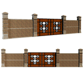 modern gate with fence