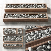White pebble in box / White pebbles in forms