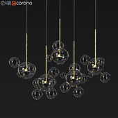 Suspension light Giopato & Coombes Bolle Zigzag Chandelier 24 Bubbles