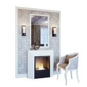 Fireplace, sconce, mirror, panel, decor and armchair 02 (Fireplace sconce Rum decor and armchair 02 YOU)