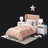crate and barrel Monarch Tufted twin Bed