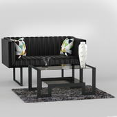 Leather sofa with coffee table John Boone