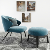 Ellen Armchair Astele With Eaton Pouf