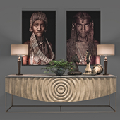 African Decoration Console Set
