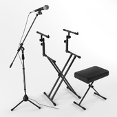 Microphone+keyboard stand+bench
