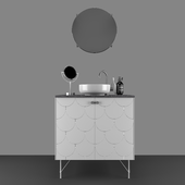Fish bathroom cabinet and sink set 3D model