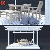 Pergola with garden furniture