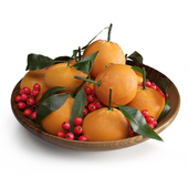 Tangerines and berries of holly