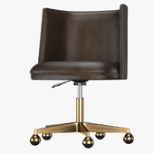 KINNEY LEATHER DESK CHAIR - ANTIQUED BRASS