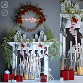 Artificial fireplace with Christmas decor 3