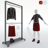Свитер, юбка и ботильоны