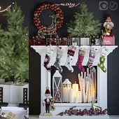 Artificial fireplace with Christmas decoration 5