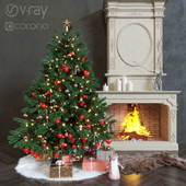 New Year's live tree and fireplace