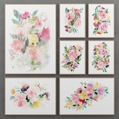 Set of paintings with watercolor flowers