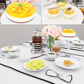 Tableware with orange cake