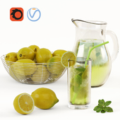 Lemonade and Bowl with Lemons