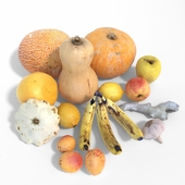 A set of fruits and vegetables