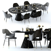 Kelly Wearstler Miramar Table and Rigby Chair