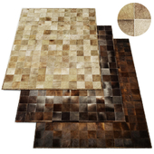 South American Cowhide Tile Rug RH