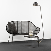 Hubsch Rattan bench with table, lamp and decor